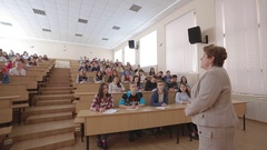 Teacher With Students At The College Lecture Hall Stock Footage