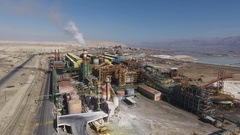 Big Factory with Chimney near Dead Sea Aerial View Stock Footage