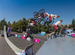 KAZAKHSTAN ALMATY - AUGUST 28, 2016: Urban extreme competition, where the city Stock Photos
