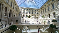 People visiting the Louvre museum. Stock Footage