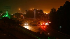 The narrow road with cars at night. Ha Long Stock Footage
