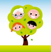 New in Shop : two Generation family, green Stock Illustration