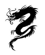 Black paper cut out of a Dragon china Stock Illustration
