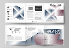 Business templates for tri fold square design brochures. Leaflet cover, flat Stock Illustration