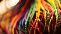 Colorful Yarn lying Stock Footage