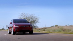 Tesla Model X - Low Rolling Footage w Pass Stock Footage