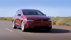 Tesla Model X - Rolling, Sudden acceleration. Stock Footage