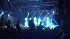 Hands of many excited people clapping in air, happy fans enjoying music concert Stock Footage