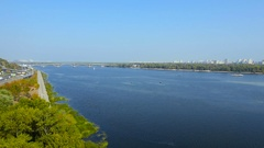 Kiev, Ukraine. Aerial view over Dnieper river. in Kyiv Stock Footage