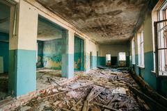 Ruined Hall Of Abandoned School After Chernobyl Nuclear Disaster Kuvituskuvat