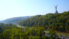 Panoramma of Kiev with the monument Motherland mother in the foreground Stock Footage