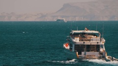 Cruise Boat Floats in the Red Sea Stock Footage