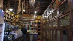 4K Herbal medicine shop Central Market Downtown Athens Greece Europe Stock Footage