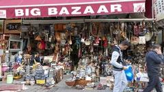 4K Flea market Central Market Downtown city urban Street scene Athens Greece Stock Footage