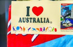 SYDNEY - OCTOBER 2015: I love Australia card. Australia is an expanding des.. Kuvituskuvat