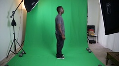 African American Male Profile Green Screen Stock Footage