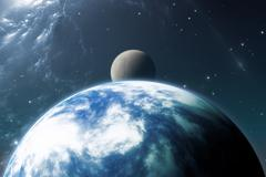 Earth like planet or Extrasolar planet with moon Stock Illustration