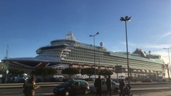 Cruise Ship Parked at Tagus River In Lisbon Stock Footage