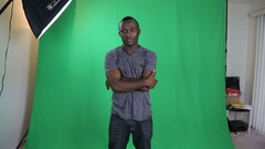 African American Male Green Screen  Stock Footage