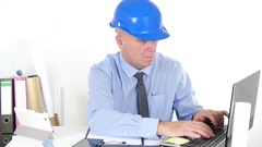 Engineer Calculate Costs Using Computer Checking Tablet and Businessman Notes Stock Footage