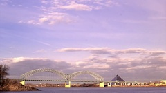 I40 bridge and Memphis pyramid timelapse Stock Footage