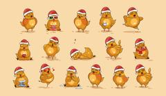 Illustrations isolated Emoji character cartoon Hen stickers emoticons with Stock Illustration