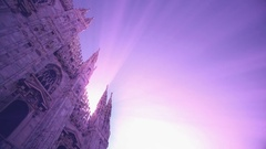 Sunset view of Milan Cathedral (Duomo di Milano) and piazza del Duomo in Milano Stock Footage