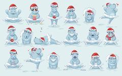 Illustrations isolated Emoji character cartoon ballerina Hippopotamus dances Stock Illustration