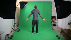 Attractive Black Actor on Green Screen Stock Footage