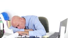 Tired Businessman Engineer Sleep at Office on Table Desk After Work Program.  Stock Footage