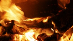 Burning Wood In The Fireplace - 4k Stock Footage