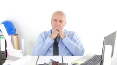 Businessman Engineer Office Work Looking Upset Thinking About Business Bad News. Stock Footage