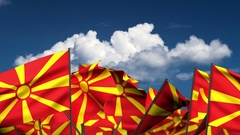 Waving Macedonian Flags Stock Footage