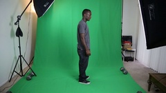 Young African American Male Profile on Green Screen Stock Footage