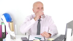 Busy Engineer Working at Office Use Computer Take Notes and Drink Water. Stock Footage