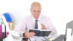 Engineer Working Interior Office Read in Agenda Notes Doing Manager Activity. Stock Footage