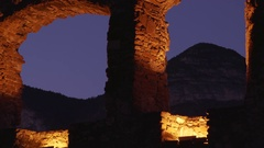 Illuminated Archs of Old Haderburg Castle Ruin Stock Footage