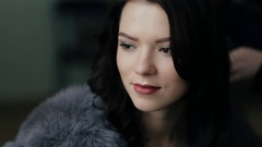 Closeup face of beautiful young woman Stock Footage