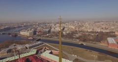 St. Peter and Paul Fortress, Saint Petersburg spring sunny Stock Footage