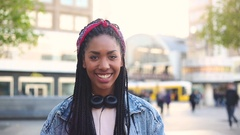 Black young woman portrait in Berlin Stock Footage