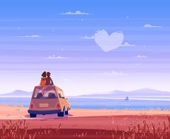 Boy and girl look over the sea. Romantic day. Vector cute illustration Stock Illustration