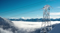Winter Time-Lapse of Power Lines in Cascade Mountain Range with Surreal Fog Stock Footage