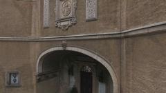 Entrance to the renaissance castle Stock Footage