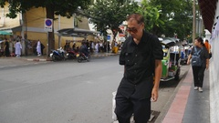 Editorial footage ;People and Traveler and busy traffic on Maharaj Road,BANGKOK Stock Footage