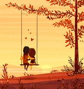 Boy and girl looking at the sunset Romantic night.. Vector cute illustration Piirros