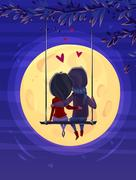 Boy and girl looking at the moon. Romantic night.. Vector cute illustration Stock Illustration
