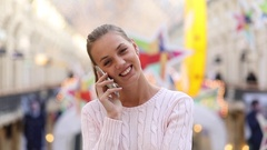 Call Me. Young beautiful blonde woman Stock Footage