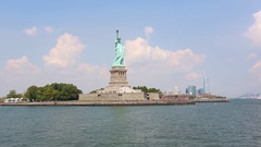 Statue of Liberty in New York from the river Stock Footage