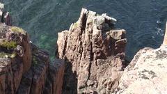 High cliffs over dark blue North Sea. Stock Footage