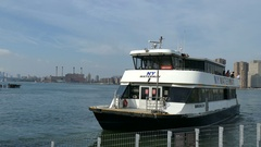 New York City Ferry in Long Island City, East River, Manhattan Stock Footage